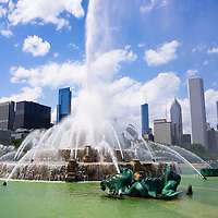 Chicago Skyline with Buckingham Fountain. Clarence F. Buckingham Memorial Fountain is located in Grant Park and is one of Chicago's most popular and well known attractions.