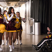 Sister Jean Dolores-Schmidt greets cheerleaders before the first round game of the NCAA Tournament against the University of Miami at the American Airlines Center in Dallas, TX., on Thursday, March 15, 2018. (Photo: Lukas Keapproth)