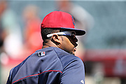 ANAHEIM, CA - APRIL 30:  Carlos Santana #41 of the Cleveland Indians looks on during batting practice before the game against the Los Angeles Angels of Anaheim at Angel Stadium on Wednesday, April 30, 2014 in Anaheim, California. The Angels won the game 7-1. (Photo by Paul Spinelli/MLB Photos via Getty Images) *** Local Caption *** Carlos Santana
