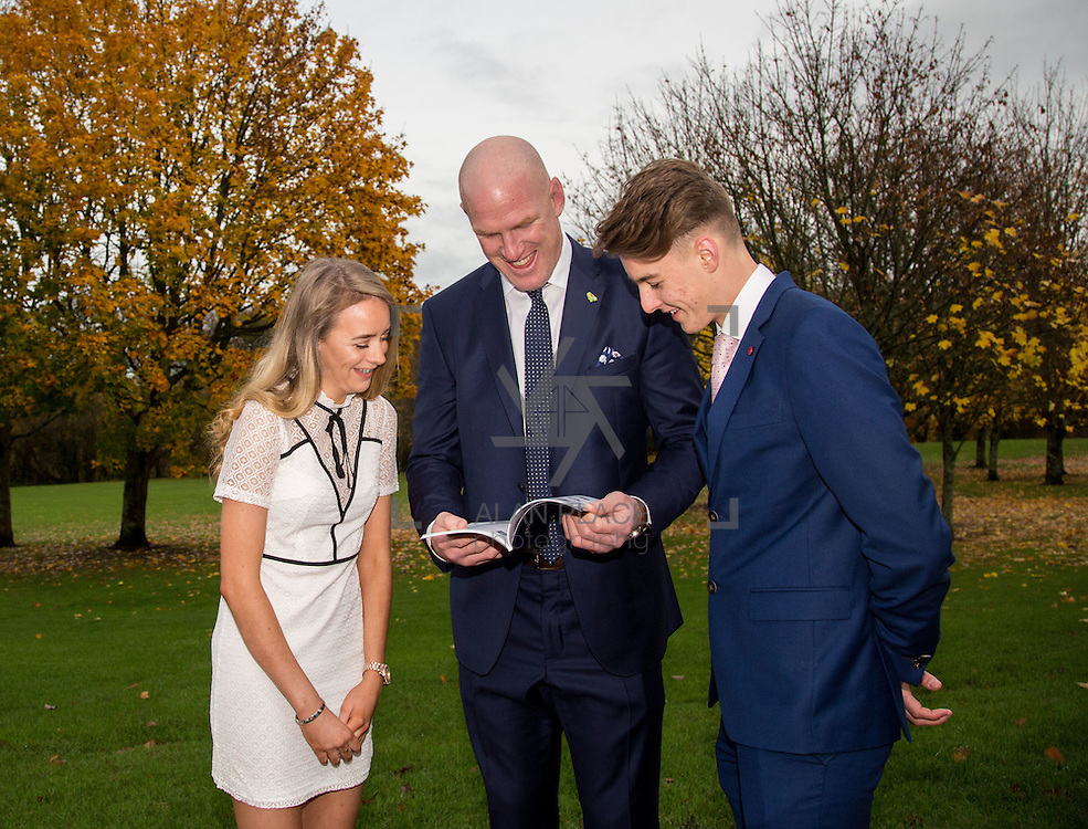 20.11.2016           <br /> Winners of the 2016 All Ireland Scholarships were commended by Rugby Legend, Paul O'Connell at an awards ceremony at the University of Limerick. <br />  Sponsored by JP McManus, the educational scheme is set to provide financial assistance to many high achieving students who completed their Leaving Certificat/A Level examinations in 2016. <br /> <br /> Attending the awards ceremony were, scholarship recipients, Eimear McErlane, The Loup Co. Derry,  and Conor Gaffney, Wexford Town with Paul O'Connell. Picture: Alan Place