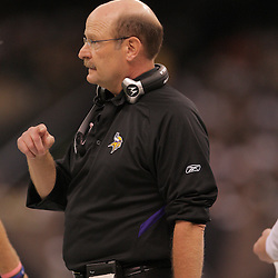 2008 October, 06: Minnesota Vikings Head Coach Brad Childress on the sidelines during a week five regular season game between the Minnesota Vikings and the New Orleans Saints for Monday Night Football at the Louisiana Superdome in New Orleans, LA.