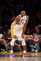 25 December 2011: Guard Kobe Bryant of the Los Angeles Lakers chews his jersey while playing against the Chicago Bulls during the first half of the Bulls 88-87 victory over the Lakers at the STAPLES Center in Los Angeles, CA.