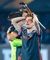 BHUBANESWAR, INDIA -  Teleurstelling bij Thierry Brinkman (Ned)  na de verloren shoot outs na  de  finale tussen België en Nederland (0-0)  bij het WK Hockey heren in het Kalinga Stadion. Belgie wint de shoot outs COPYRIGHT KOEN SUYK