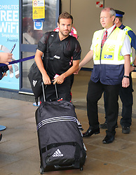 Juan Mata is spotted at the Manchester Airport, UK as the Manchester United Football Club return from their USA Pre-Season tour on July 1, 2018.