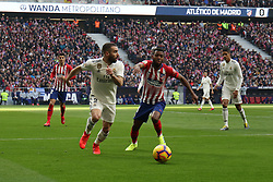 February 9, 2019 - Madrid, MADRID, SPAIN - Thomas Lemar of Atletico de Madrid and Dani Carvajal of Real Madrid during the spanish football championship La Liga played between Atletico de Madrid and Real Madrid at Wanda Metropolitano Stadium, Madrid, Spain. February 09th 2019. (Credit Image: © AFP7 via ZUMA Wire)