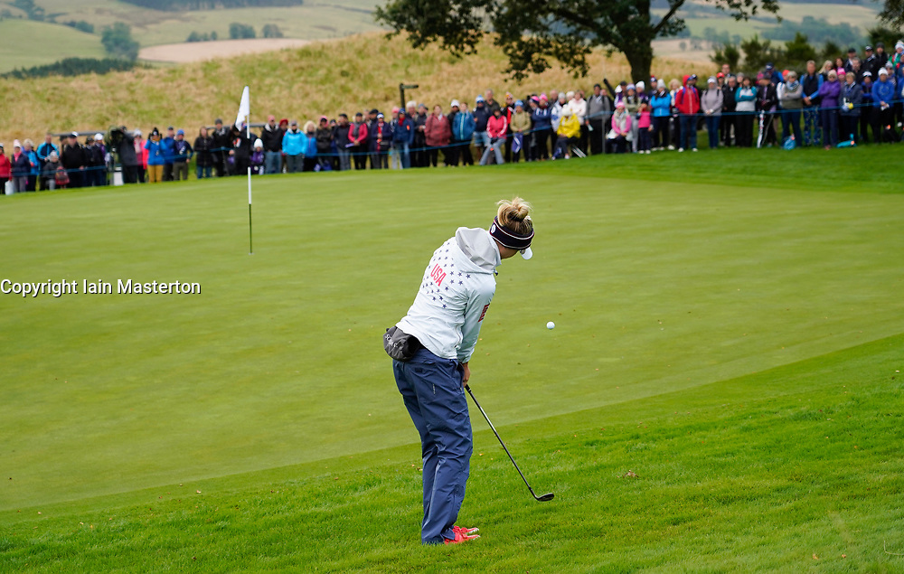 Auchterarder, Scotland, UK. 14 September 2019. Saturday morning Foresomes matches  at 2019 Solheim Cup on Centenary Course at Gleneagles. Pictured; Nelly Korda of team USA chips onto 4th green. Iain Masterton/Alamy Live News