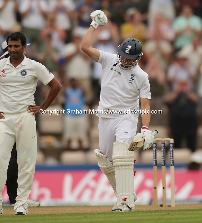 Gary Ballance celebrates his century past bowler Mohammed Shami during the third Investec Test Match between England and India at the Ageas Bowl, Southampton. Photo: Graham Morris/www.cricketpix.com (Tel: +44 (0)20 8969 4192; Email: graham@cricketpix.com) 27/07/14
