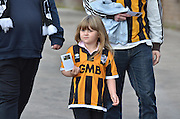 a young vale supporter arrives at the JD stadium before the Sky Bet League 1 match between Bury and Port Vale at Gigg Lane, Bury, England on 19 September 2015. Photo by Mark Pollitt.