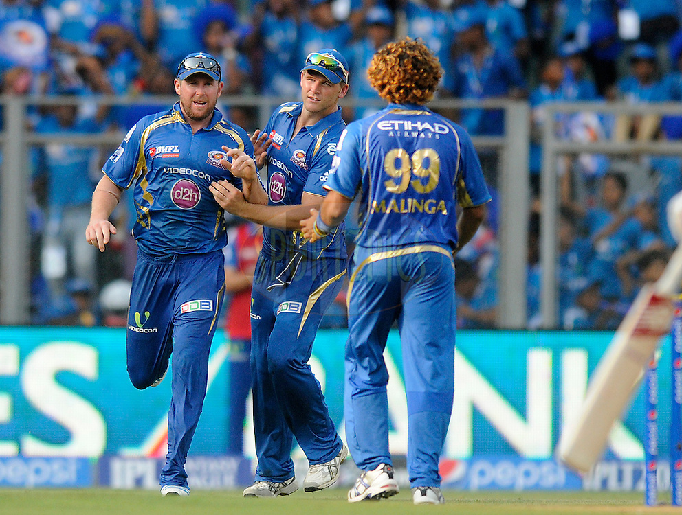 Ben Dunk of the Mumbai Indians celebrates after taking a catch to get the wicket of David Miller of the Kings X1 Punjab during match 22 of the Pepsi Indian Premier League Season 2014 between the Mumbai Indians and the Kings XI Punjab held at the Wankhede Cricket Stadium, Mumbai, India on the 3rd May  2014<br /> <br /> Photo by Pal Pillai / IPL / SPORTZPICS<br /> <br /> <br /> <br /> Image use subject to terms and conditions which can be found here:  http://sportzpics.photoshelter.com/gallery/Pepsi-IPL-Image-terms-and-conditions/G00004VW1IVJ.gB0/C0000TScjhBM6ikg