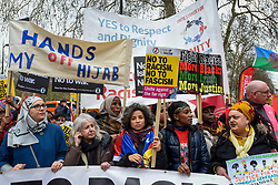 © Licensed to London News Pictures. 16/03/2019. LONDON, UK.  Thousands of people take part in a Stand Up To Racism and Stand Up To Islamophobia march through the capital.  Photo credit: Stephen Chung/LNP