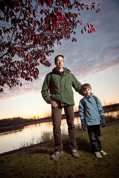 Thierry Landeau and his six year old son, Julien, at Westchester Lagoon, Anchorage.