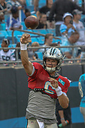 Carolina Panthers quarterback Taylor Heinicke (6) warming up during Fan Fest at Bank of America Stadium, Friday, Aug. 2, 2019, in Charlotte, NC. (Brian Villanueva/Image of Sport)