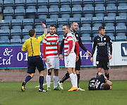 Referee Crawford Allan red cards Hamilton&rsquo;s Dougie Imrie -  Dundee v Hamilton Academical, SPFL Premiership at Dens Park <br /> <br /> <br />  - &copy; David Young - www.davidyoungphoto.co.uk - email: davidyoungphoto@gmail.com