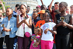 Young bell ringer's mark the 50th anniversary of Martin Luther King's I Have a Dream speech as they perform in Trafalgar Square in London, Wednesday, 28th August 2013. Picture by Stephen Lock / i-Images