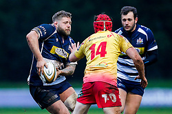Bristol Rugby Hooker Chris Brooker (capt) is challenged by Scarlets XV Winger Gavin Thomas - Mandatory byline: Rogan Thomson/JMP - 17/01/2016 - RUGBY UNION - Clifton Rugby Club - Bristol, England - Scarlets Premiership Select XV v Bristol Rugby - B&I Cup.