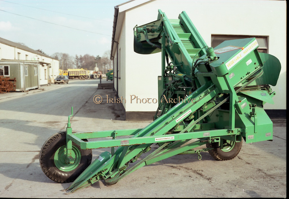Carlow Sugar Factory.   (M66)..1979..06.04.1979..04.06.1979..6th April 1979..Today, at Carlow Sugar Factory,new harvesting machines for sugar beet were put on display. It is hoped that the new equipment will improve the standards and time taken with the harvest..Image shows a view of the equipment on display at the factory.