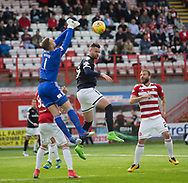 12th August 2017, SuperSeal Stadium, Hamilton, Scotland; SL Football league Hamilton Academicals versus Dundee; Hamilton goalkeeper Gary Woods punches clear under pressure from Dundee's Marcus Haber