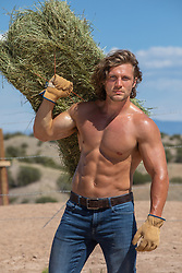 hot shirtless muscular man working on a ranch