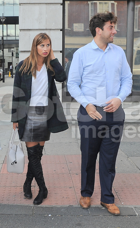 TOWIE stars Lydia Bright, Ferne McCann and James Argent leaving BBC Radio 1 in central London, UK. 03/10/2014<br />