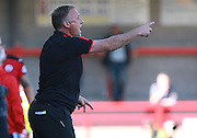 Crawley Town Manager Mark Yates shouts instructions during the Sky Bet League 2 match between Crawley Town and Accrington Stanley at the Checkatrade.com Stadium, Crawley, England on 26 September 2015. Photo by Bennett Dean.