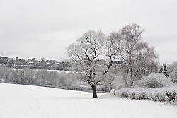 © Licensed to London News Pictures. 17/01/2016. Woldingham, UK. Snow covered fields are seen outside the village of Woldingham in Surrey, today (17/01/2016) after snow hit parts of the UK for the first time this winter. Photo credit: Matt Cetti-Roberts/LNP