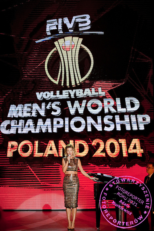 Edyta Gorniak (one of the most popular female singers in the history of pop music in Poland) while her performance during the official draw of FIVB Volleyball Men&rsquo;s World Championship Poland 2014 at Congress Hall in Palace of Culture and Science in Warsaw on January 27, 2014.<br /> <br /> Poland, Warsaw, January 27, 2014<br /> <br /> Picture also available in RAW (NEF) or TIFF format on special request.<br /> <br /> For editorial use only. Any commercial or promotional use requires permission.<br /> <br /> Mandatory credit:<br /> Photo by &copy; Adam Nurkiewicz / Mediasport