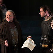 March 24, 2016 - New York, NY : Jasper Britton (as Bolingbroke), left, and Matthew Needham (as Harry Percy), perform during a photo call/dress rehearsal for The Royal Shakespeare Company's (RSC) Richard II at the Brooklyn Academy of Music's (BAM) Harvey Theater in Brooklyn on Thursday afternoon. The production, which is being directed by RSC Artistic Director Gregory Doran as part of Shakespeare's Great Cycle of Kings, marks the 400th anniversary of William Shakespeare's death.  CREDIT: Karsten Moran for The New York Times