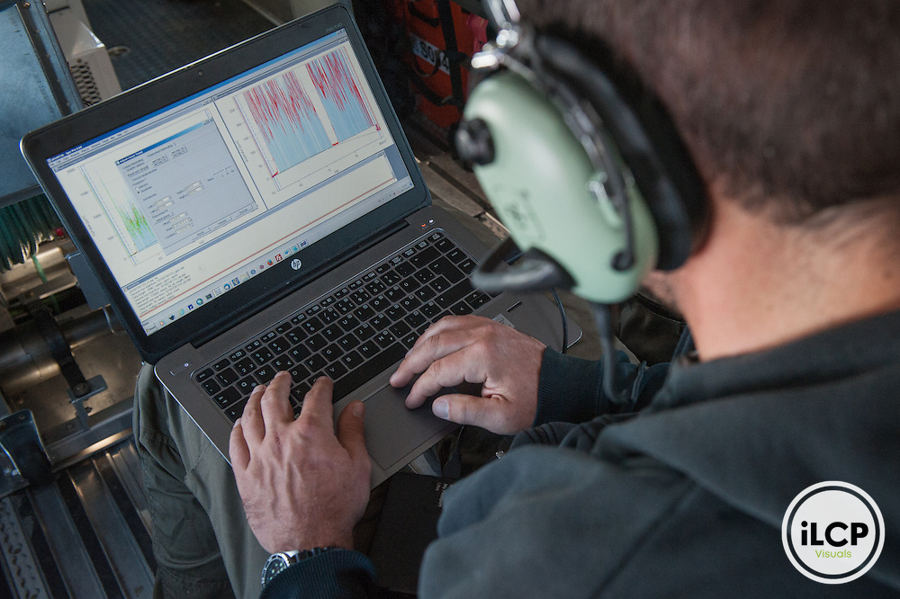 Dr. Thomas Krumpen of Alfred Wegener Institute for Polar and Marine Research, works on the data collectec after ice thickness measurements. Arctic Ocean, July 25, 2016, Esther Horvath / iLCP