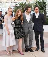 "CANNES, FRANCE - MAY 18:  Actors Jess Weixler, Jessica Chastain, director Ned Benson and James McAvoy attends ""The Disappearance Of Eleanor Rigby"" photocall at the 67th Annual Cannes Film Festival on May 18, 2014 in Cannes, France.  (Photo by Tony Barson/FilmMagic)"