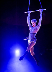 Pictured: Oliver Smith-Wellnitz from the Little Death Club (UK) group.<br /> <br /> Performers from across the globe came together at the Edinburgh Festival to mark the 250th anniversary of circus performances.<br /> <br /> &copy; Dave Johnston / EEm
