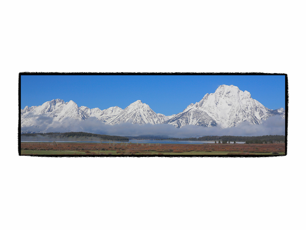 Grand Tetons, WY - Viewpoint - Panoramic - Custom Border