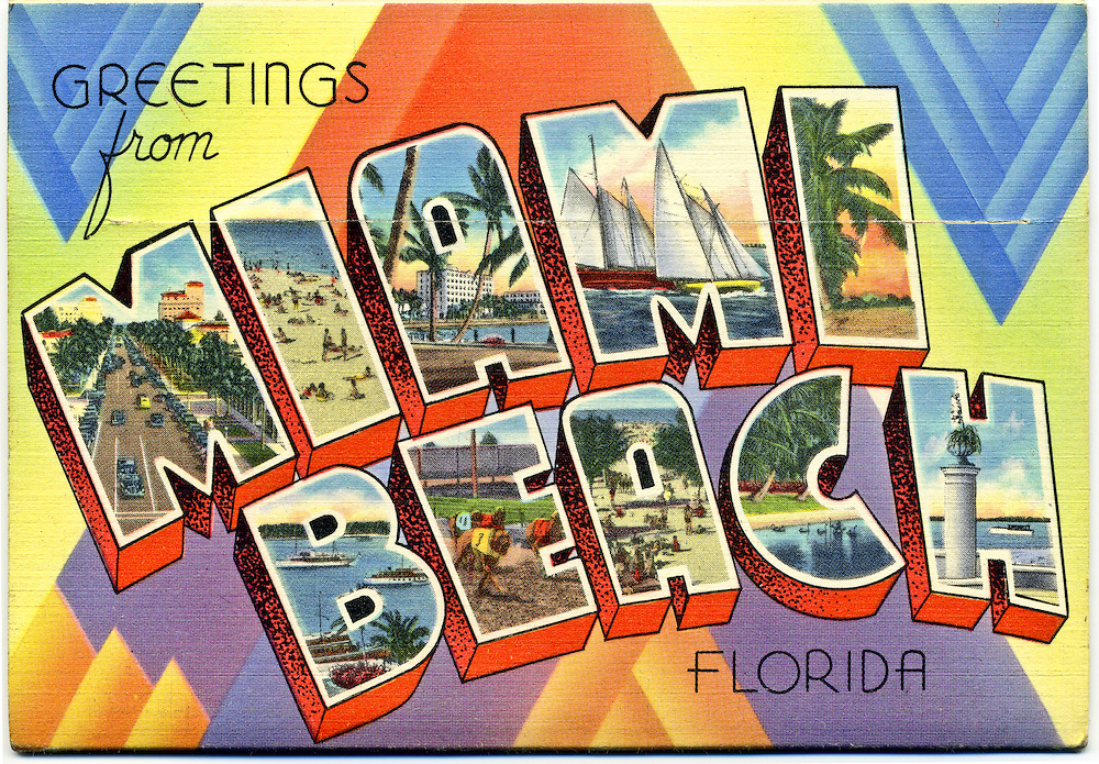 "A classic, large letter ""Greetings from Miami Beach"" postcard on the back cover of an envelope-like packet of 16 fold-out, vintage postcard views circa 1940."