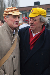 "© Licensed to London News Pictures. 03/03/2012. London, England. L-R: Michael Palin and Terry Jones. Terry Jones and Michael Palin of Monty Pythons fame today, Saturday 3 March, staged a public ""Hopathon"" to mark the DVD release of Ripping Yarns The Complete Series, and as an homage to the episode entitled Tomkinson's School Days at the Athletics Track in  Hampstead Heath, London. Photo credit: Bettina Strenske/LNP"