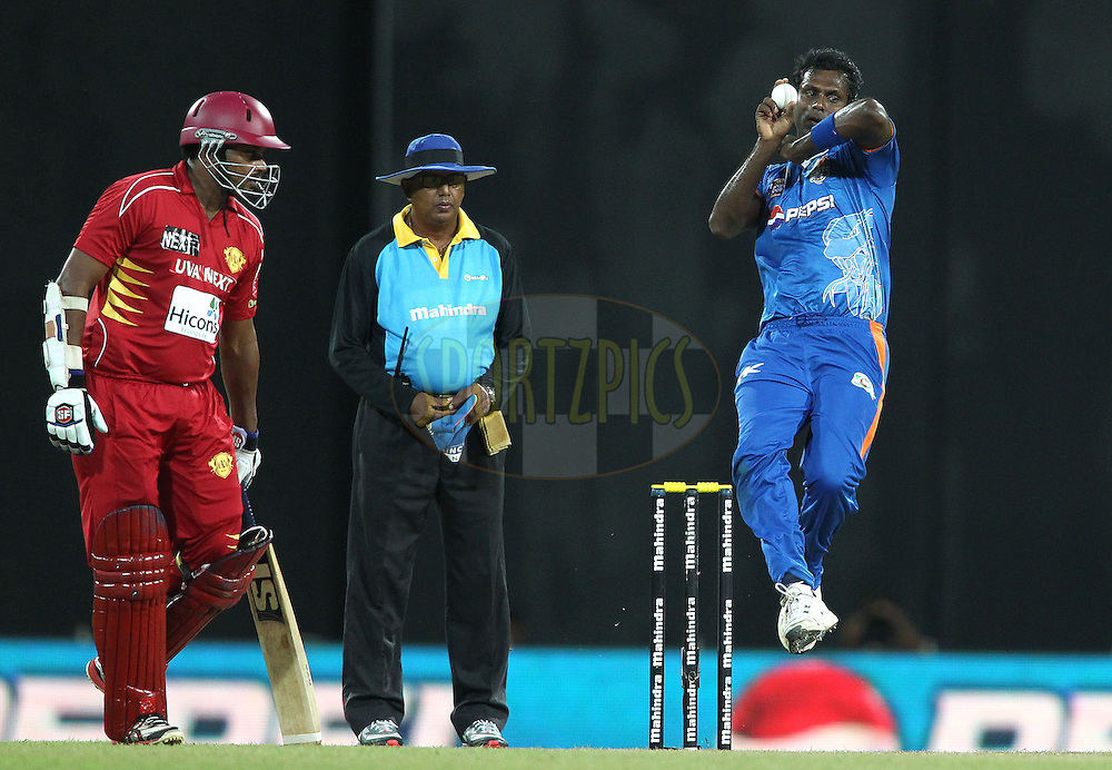 Nagenahira Nagas captain Angelo Mathews sends down a delivery during match 21 of the Sri Lankan Premier League between Uva Next and Nagenahiras held at the Premadasa Stadium in Colombo, Sri Lanka on the 27th August 2012. .Photo by Shaun Roy/SPORTZPICS/SLPL