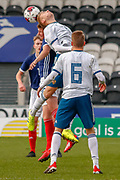 Daniil Shamkinheaders the ball during the U17 European Championships match between Scotland and Russia at Simple Digital Arena, Paisley, Scotland on 23 March 2019.
