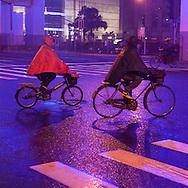 China, Shanghai. Yen'an road, urban highway illuminated at night