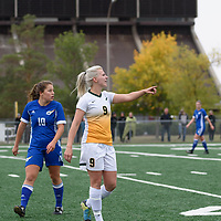 4th year midfielder Nikita Senko (9) of the Regina Cougars during the Women's Soccer Homeopener on September 16 at U of R Field. Credit: Casey Marshall/Arthur Images