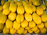 20 APRIL 2015 - BANGKOK, THAILAND:  Fresh ripe mangos for sale in Talat Phlu market in the Thonburi section of Bangkok.    PHOTO BY JACK KURTZ