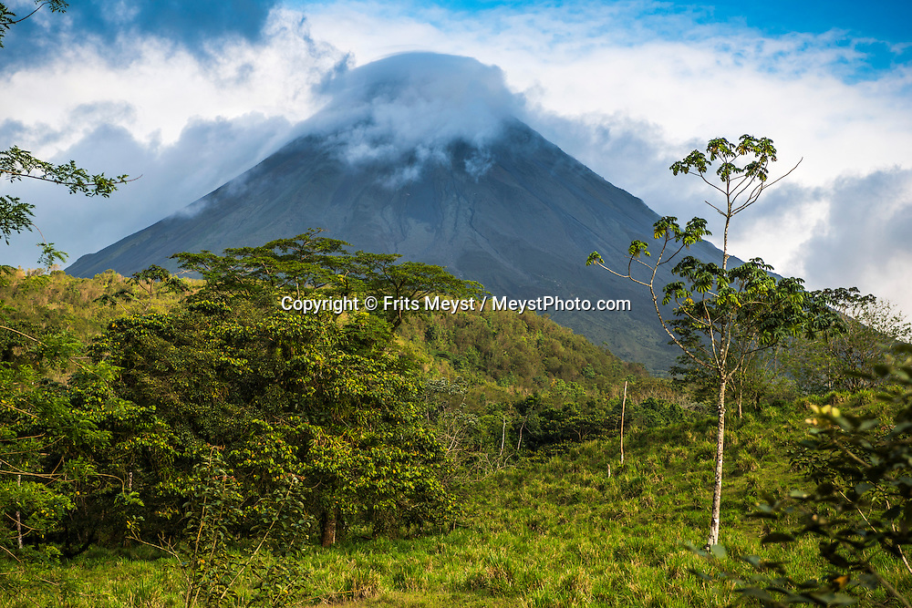 Costa Rica, February 2015. One of Costa Rica's most notable natural features is the Arenal Volcano. This impressive volcano resides within the 29,960-acre Arenal Volcano National Park. Costa Rica is bestowed with an intense array of biodiversity and environmental attractions - majestic volcanoes, misty cloud forests, stunning river valleys, and hundreds of beaches along the Pacific and Caribbean coasts. Photo by Frits Meyst / MeystPhoto.com