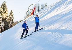 10.01.2020, Streif, Kitzbühel, AUT, FIS Weltcup Ski Alpin, Schneekontrolle durch die FIS, im Bild v.l. Mario Mittermayer-Weinhandl (HKR Rennleiter), Hannes Trinkl (FIS Renndirektor) // f.l. Mario Mittermayer-Weinhandl race direktor HKR and Hannes Trinkl FIS Racedirector during snow control by the FIS for the FIS ski alpine world cup at the Streif in Kitzbühel, Austria on 2020/01/10. EXPA Pictures © 2020, PhotoCredit: EXPA/ Stefan Adelsberger