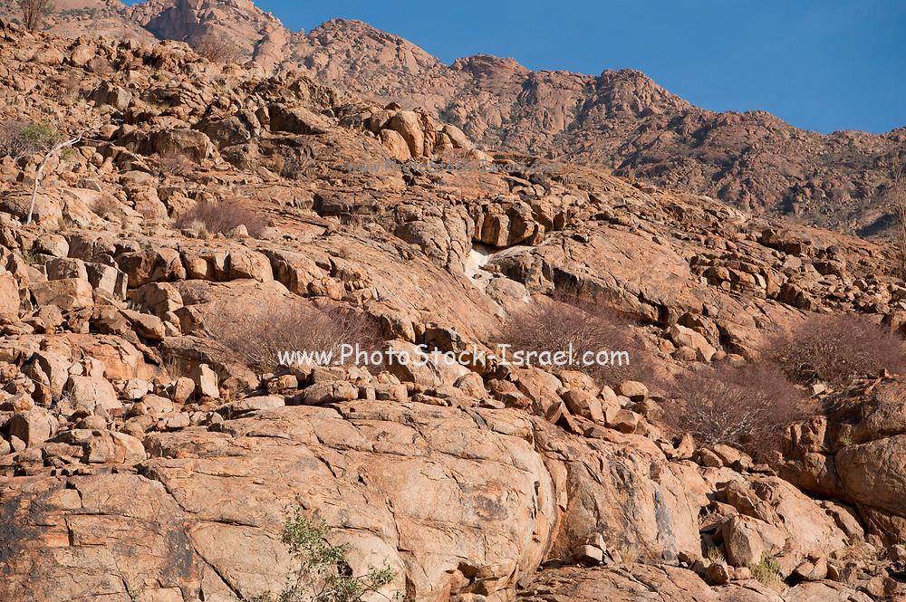 Rocky arid desert landscape. Photographed in Hoanib river gorge, Namibia