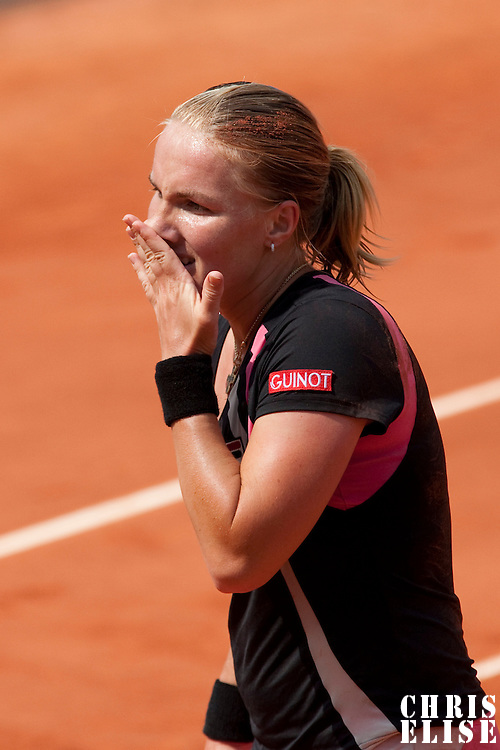 3 June 2009: Svetlana Kuznetsova of Russia looks dejected during the Women's single quarter final match on day eleven of the French Open at Roland Garros in Paris, France.