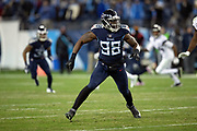 Tennessee Titans outside linebacker Brian Orakpo (98) chases the action during the week 14 regular season NFL football game against the Jacksonville Jaguars on Thursday, Dec. 6, 2018 in Nashville, Tenn. The Titans won the game 30-9. (©Paul Anthony Spinelli)