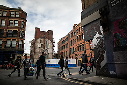 © Licensed to London News Pictures . 06/10/2018. Manchester , UK . Building site on the corner of Back Turner Street , Soap Street and High Street by Withy Grove . A much-criticised plan for the block's redevelopment is currently before Manchester City Council planners . Campaigners say that the architectural heritage of the Northern Quarter of Manchester City Centre is under threat from developers and Manchester City Council planning policy . Photo credit : Joel Goodman/LNP