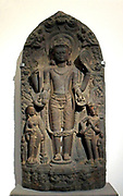 Stele of Vishnu Vasudeva. Pala-Sena dynasty (8th-12th century AD) schist sculpture from West Bengal, India