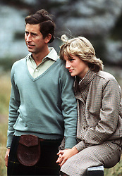 Prince Charles, Prince of Wales and Diana, Princess of Wales pose of the press on their honeymoon at Balmoral in Scotland in August 1981.