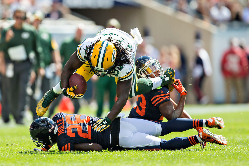 CHICAGO, IL - SEPTEMBER 13:  Eddie Lacy #27 of the Green Bay Packers is tackled by Kyle Fuller #23 of the Chicago Bears at Soldier Field on September 13, 2015 in Chicago, Illinois.  The Packers defeated the Bears 31-23.  (Photo by Wesley Hitt/Getty Images) *** Local Caption *** Eddie Lacy; Kyle Fuller