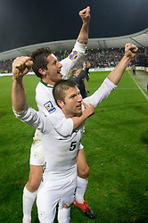 Robert Koren and Bostjan Cesar of Slovenia  celebrate at  FIFA World Cup Sout Africa 2010 Qualifying Second Play off match between Slovenia and Russia, on November 18, 2009, in Stadium Ljudski vrt, Maribor, Slovenia. Slovenia won 1:0 and qualified for the FIFA World Championships 2010. (Photo by Vid Ponikvar / Sportida)