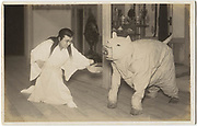 Actor Kyoju Ro with fellow actor in pig costume, from the play Buta Uzuhiko, 1920s, silver gelatin bromide.<br />