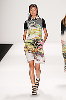 A model walks the runway wearing Vivienne Tam Spring 2015 during Mecedes-Benz Fashion Week in New York on September 7th, 2014